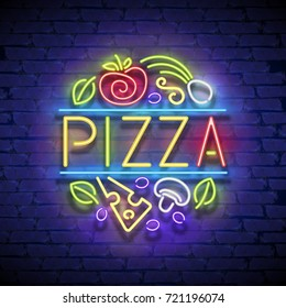 Pizza Singboard Template with Cheese, Mushroom, Olives, Basil Leaves and Tomato. Italian Food Cafe Label. Shiny Neon Light Style. Advertisement Flyer. Vector 3d Illustration. Abstract Decorative Art