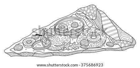 Pizza Slice Coloring Page Illustration Stock Vector Royalty Free
