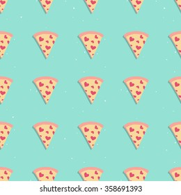 Pizza slice cute seamless pattern with hearts on blue background, perfect for packaging, restaurant and cafe menu, valentine card and much more