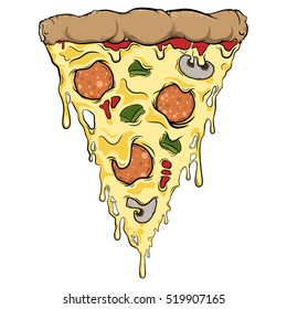 pizza slice dripping with cheese and toppings