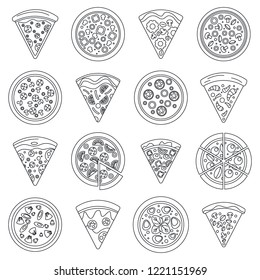 Pizza slice icon set. Outline set of pizza slice vector icons for web design isolated on white background