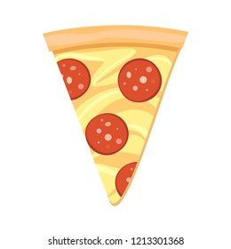 Pizza slice icon vector. Pizza slice with melted cheese and pepperoni. Italian pizza on white background