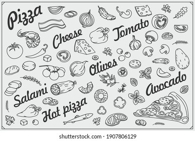 Pizza slice and ingredients. Pizzeria background and design elements. Hand drawn doodles illustration.