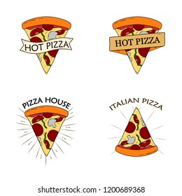 Pizza slice isolated on white background. Logotype for pizzeria house. Food badge. Vector cartoon design