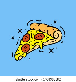 Pizza slice line icon. Italian fast food graphic. Vector illustration.