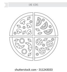 Pizza slice. Pepperoni, mushroom, seafood, vegetarian.