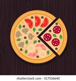 Pizza slice. Pepperoni, mushroom, seafood, vegetarian. Flat style.