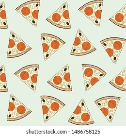Pizza slice seamless pattern. Italian food endless background hand drawn art design elements stock vector illustration for web, for walpapper