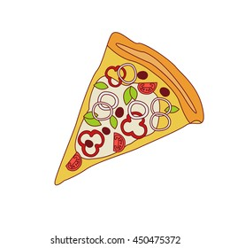 Pizza Slice With Sweet Pepper And Onion Cartoon Outlined Simplified Flat Vector Illustration Isolated On White Background - Shutterstock ID 450475372
