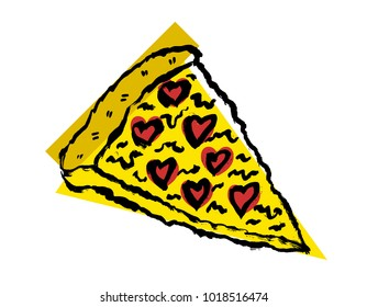 Pizza slice vector icon in grunge styler