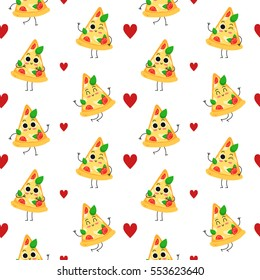 Pizza slice, vector seamless pattern with cute fast food characters isolated on white with hearts