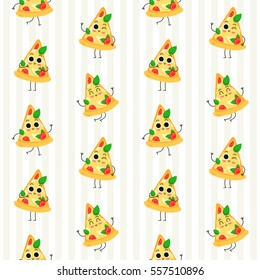 Pizza slice, vector seamless pattern with cute fast food characters on stripy background