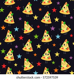 Pizza slice, vector seamless pattern with cute fast food characters on dark background with colorful stars