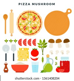 Pizza with sliced mushrooms and all ingredients for cooking it. Make your pizza. Set of products and tools for pizza making. Everything for dough, filling and sauce. Vector illustration in flat style.