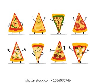 Pizza slices character set, sketch for your design