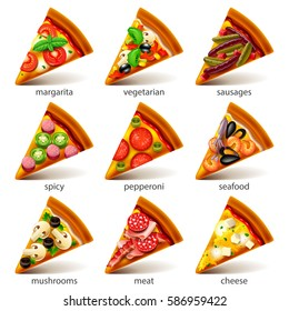Pizza slices icons photo realistic vector set