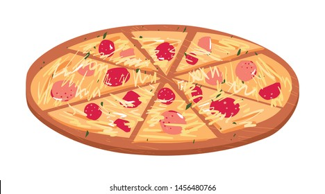 Pizza slices on a wooden board with salami tomato pepper cheese cartoon flat vector illustration set.