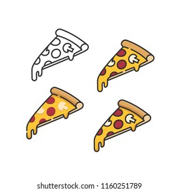 Pizza slices set with melting cheese linear isometric minimal vector illustration icons collection isolated on white
