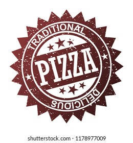 pizza stamp vector