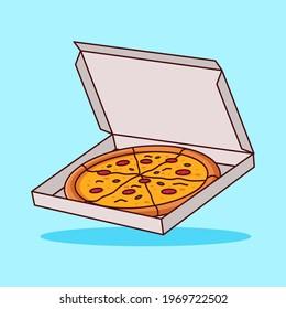 Pizza sticker. cute cartoon. Modern flat style vector illustration clipart.