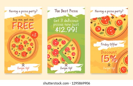 Pizza styled advertisement poster covers template for promotion product page, account or personality in the social networks. Promo composition. Realistic coll design template.
