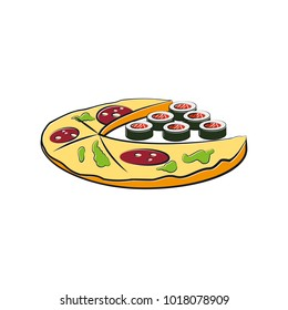 Pizza and sushi cartoon illustration. Fast food template for the business card, branding and corporate identity.