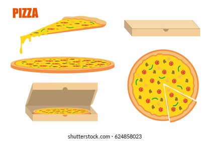 Pizza template. Whole pizza and slices with boxes. Flat style illustration isolated on white