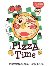 pizza time doodle vector