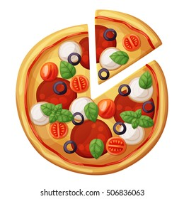 Pizza top view. Cherry tomato, sausages or salami, mozzarella, olives, basil leaves. Cartoon vector food illustration isolated on white background. American and Italian fast food pizza