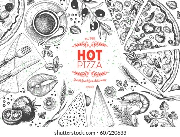 Pizza top view frame. Italian food menu design template. Vintage hand drawn sketch vector illustration. Engraved style