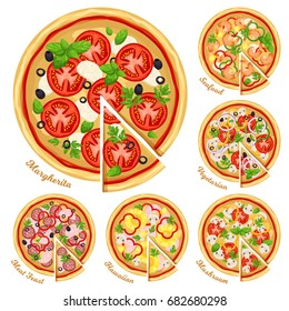 Pizza top view set with different ingredients. Italian whole pizza with slices: Margarita, seafood, vegetarian, mushroom, hawaiian and meat feast. Vector illustration isolated on white background