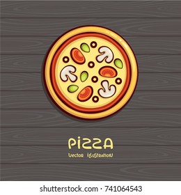 Pizza top view vector illustration. Italian food. Pizza with tomato and mushrooms on wood background. Design for menu, logo and pack.