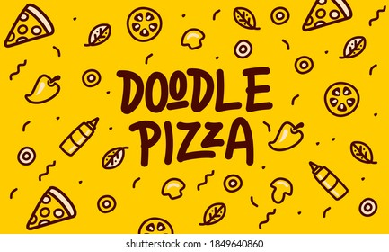 pizza topping doodle pattern vector