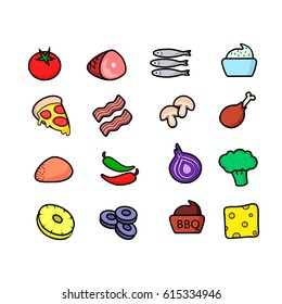 Pizza toppings icons set vector illustration