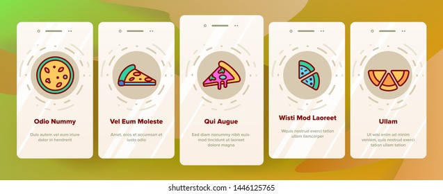 Pizza Triangle Slices Vector Onboarding Mobile App Page Screen. Delicious Pizza Piece, Street Food. Restaurant Menu, Pizzeria Logo. Traditional Italian Dish, Fastfood Isolated Contour Illustration