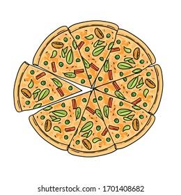 Pizza vector illustration. Hand drawn beautiful food illustration.