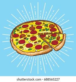 Pizza vector illustration, hand drawn Pizza illustration, Pizza vector poster,  Italian pizza,
