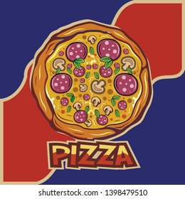 Pizza vector logo and illustration