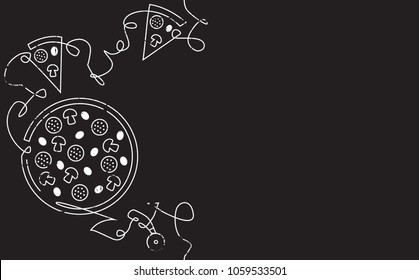 Pizza Vertical Pattern. Backgraund with Continuous Drawing Pizzeria Elements isolated on Black.  Design Template. Chalkboard style. Vector illustration.