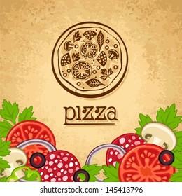 Pizza. Vintage fast food background.