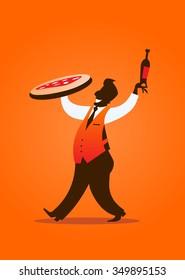 Pizza waiter silhouette