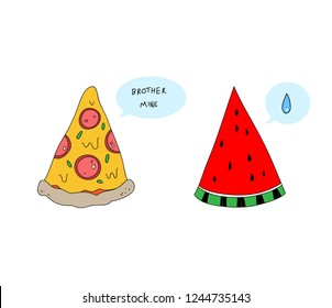 """pizza and watermelon, simple retro style trendy isolated art for t-shirts,sweatshirts,hoodies,wall art, card,patch,poster,boy and girl teenager female clothes,street wear etc. text """"brother mine?"""""""