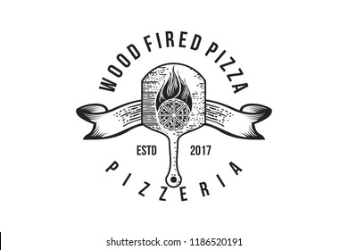 Pizza Wood plate, Vintage Badges Logo Designs Inspiration, Vector Illustration