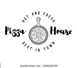 Pizza wooden peel label. Pizza stand. Vector Illustration. Pizza House logo label emblem. Best in town and hot and fresh lettering.
