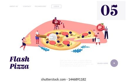 Pizzeria Bistro Website Landing Page, Tiny People Eating Huge Pizza, Cut with Knife, Put Ketchup and Cheese, Italian Food. Fast Food, Cafe, Visitors, Web Page. Cartoon Flat Vector Illustration, Banner