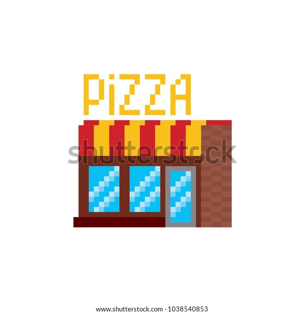 Pizzeria Building Pixel Art Old School Stock Vector (Royalty