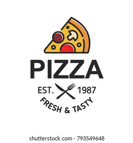 Pizzeria cafe logo, pizza icon, emblem for fast food restaurant. Simple flat line style pizza logo on white background