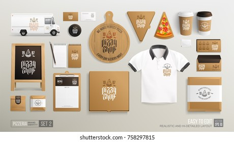 Pizzeria Cafe Restaurant Corporate Brand identity Mockup set. Realistic MockUp set of pizzeria logo, food delivery truck, uniform, pizza box, street menu, paper pack. Take away Pizza Shop mock up