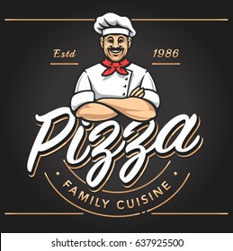 Pizzeria emblem design with smiling chef. Pizzeria vector logo template on black background. Vector emblem for cafe, restaurant or food delivery service.