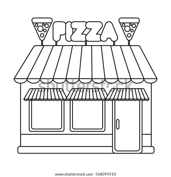 Pizzeria icon in outline style isolated on white background. Pizza and pizzeria symbol stock vector illustration.